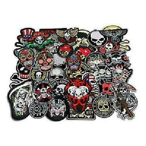 24pcs lot Mixed 5-12cm Iron-on Embroidered Patches Skull Style Appliques NEW