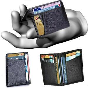 Portafoglio porta carte di credito in pelle da uomo slim verticale porta tessere
