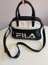 Fila Black & White Faux Leather Crossbody Tote Bag