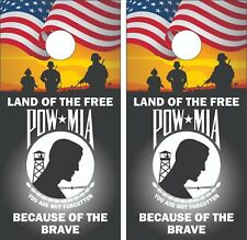 POW/MIA  Cornhole Board Skin Wrap Decal SET LAMINATED