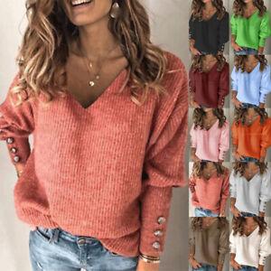 Womens Loose Tee Blouse Jumper Casual Sweatshirt Ladies Knitted Sequins Tops UK