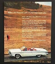 1961 Plymouth Fury Advertisement Convertible Photo White Car Vintage Print AD