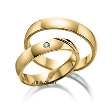 HIS & HERS MATCHING WEDDING RINGS SET,18K YELLOW GOLD DIAMOND WEDDING BANDS