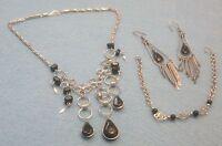 PARURE BLACK MURANO GLASS, BEADS & SILVER NECKLACE, BRACELET & EARRINGS
