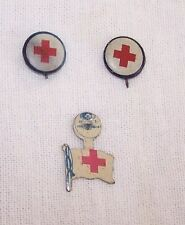Lot Of 3 Red Cross Pins-2Pinbacks-1 Tab-Medical Care-Amer Art Works-Coshocton Oh