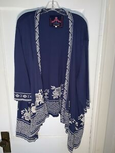 Johnny Was JW Los Angeles Joy Love Light Blue Embroidered Cardigan Jacket Sz 2X