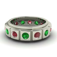 2.00 Ct Genuine Real Ruby Emerald Wedding Band 14K White Gold Ring Size K L M N