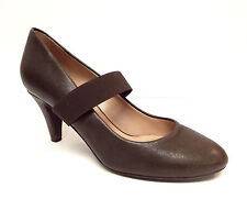 DKNY DONNA KARAN Size 7 Brown Leather Mary Jane Heels Pumps Shoes Italy