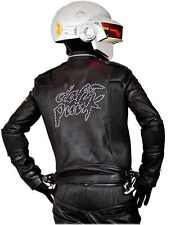 Daft Punk Electroma Get Lucky Leather Jacket with Zipper and Stitching in Black