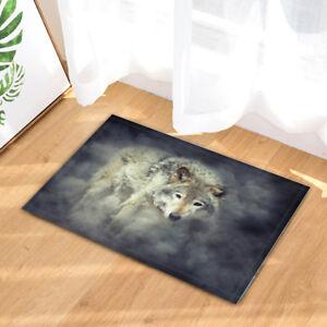 "Grey Wolf in Smoke Animal Theme Bedroom Fabric Shower Curtain & 12 Hooks 71*71"""