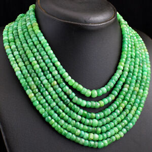 Authentic 850 Cts Earth Mined 7 Strand Green Emerald Beads Necklace JK 37E296