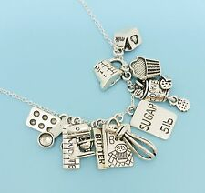 Cooking/Baking Charm Necklace Silver Tone Pendants Gift for Chef Baker Cook