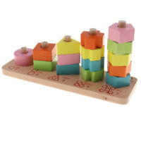 Wooden Puzzle Toy Shapes Sorter Preschool Geometric Blocks Stacking for Kids