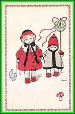 Pauli Ebner Art Post Card - 2 Children with Pig - Uncirculated - Serie 1075