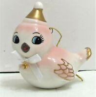 "Target Wondershop Retro Style Pink Bird Christmas Ornament Ceramic 3"" NEW"