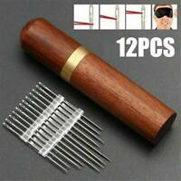 US Stainless Steel Self-threading 6/12Pcs Needles Opening Sewing Darning Needles