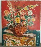 Peinture  fleur sur toile signée. Flower painting on canvas. signed