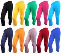 Girls children 3/4 Leggings cropped Cotton Rich for kids dancing cycling 3-13