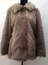 Womens BNWOT New Betty Jackson Grey Brown Faux Fur Warm Winter Coat Jacket 12/14