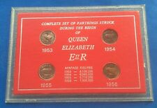 More details for rare 1953 - 1956 set (4) of queen elizabeth ii farthings coins in display case