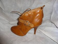 ALDO WOMEN BROWN LEATHER LACE UP/BUCKLE/ZIP ANKLE BOOT SIZE UK 5 EU 38 VGC