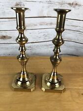 "Vintage Brass Candle Stick Holders Tappered Mid Century Modern 10"" Tall Pair"