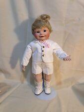 Yolando Bello Boy Doll Blonde w/ Stand Porcelain / Cloth 2405Fa