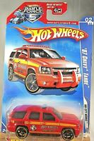 2009 Hot Wheels #108 HW City Works 2/10 '07 CHEVY TAHOE Red Variant w/Blk OH5 Sp