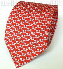 SALVATORE FERRAGAMO red SCOTTIE DOGS blue/orange collars silk MENS tie NWT Auth