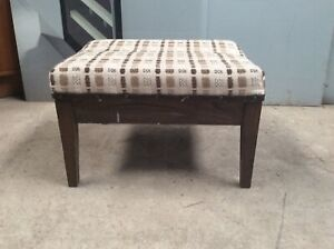 Retro Stool / Footstool. Oak Wood Low Stool. 1970s Reupholstery Project. V5