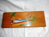 "Small Wooden Trinket/Jewelry/Storage/Treasure Box, Hand-Carved & Painted ""Haiti"""