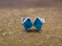 Zuni Indian Jewelry Sterling Silver Square Blue Green Opal Post Earrings!
