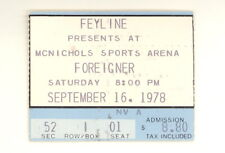 Foreigner 9/16/1978 Original Authentic Ticket Stub McNichols Sports Arena (508)