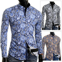 Men's Cipo & Baxx Dress Shirt Casual Paisley Pattern Long Sleeve Cotton Slim Fit