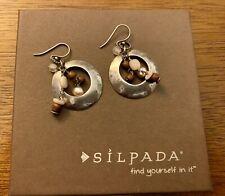 Silpada Sterling Silver Hammered Rose Quartz Pearl Drop Earrings W1429 New!