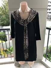 Geoff Bade Designer Tunic, Size 14, Black With Attached Animal Print Scarf, Slim