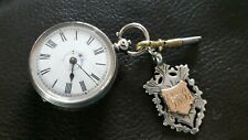Antique SILVER Ladies Pocket WATCH ,key ,  silver / gold fob
