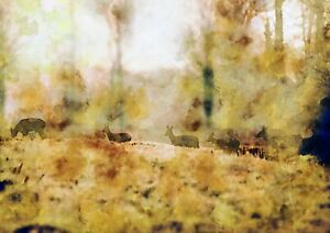 Family of deer walking, watercolour painting, landscape artwork print, wall art