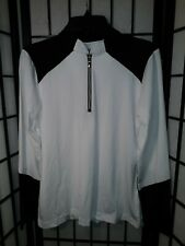 New Women's Sport Haley Stretchy Long Sleeve White/Black Polo Top Medium $39.95