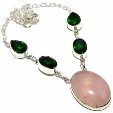 "Rose Quartz, Tsavorite 925 Sterling Silver Jewelry Necklace 18"" 8771"