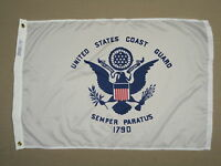 U.S. United States Coast Guard Indoor Outdoor Dyed Nylon Flag Grommets 2' X 3'