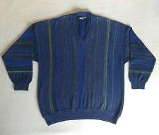 Vintage 90s Monte Carlo Pullover Sweater Striped Blue Green Jumper Size 62 Top