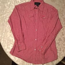 Wrangler Western Shirts Ladies Size small pink plaid Breast Cancer Awareness