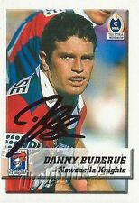 ✺Signed✺ 2002 NEWCASTLE KNIGHTS NRL Card DANNY BUDERUS Daily Telegraph