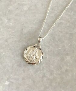 925 Solid Sterling Silver Saint St Christopher Pendant Necklace With Chain & Box