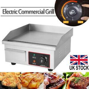 Commercial Electric Griddle Kitchen Hotplate BBQ Grill Bacon Countertop 220V UK