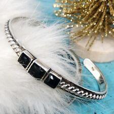 Sterling Silver Black Onyx Cuff Bracelet Twisted Rope 15g ~Healing Stone