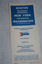 Vintage Amtrak Railroad Boston New York Washington Timetable Feb, 9, 1972