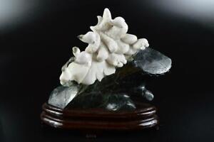 L681: Japanese XF Stone jade/jewels BIRD STATUE sculpture Ornament Figurines