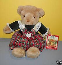 1990 Commonwealth Toys Christmas Girl Bear Plush Berkshire Family in Plaid Dress